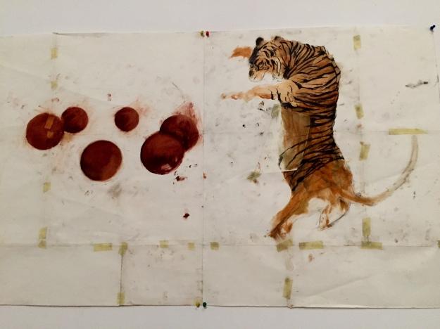 La tigre giocoliera. Disegno di Assan Smati. Foto Safarik Art Magazine