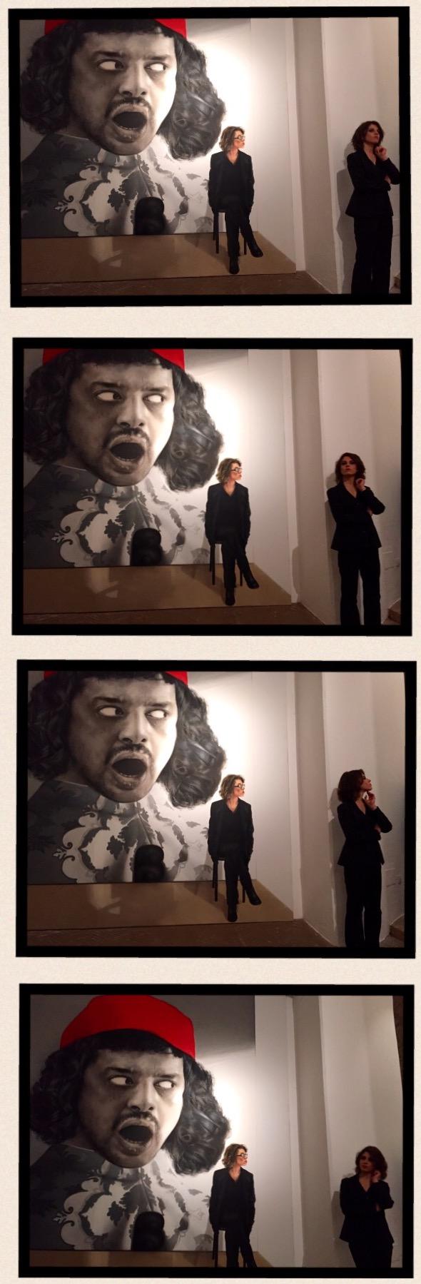 "Portrait de jeune homme avec les cheveux d'Eleonora (de la peinture ne reste qu'un fantôme). Di Mitra Farahani. Alia ""Osservati e osservatori"". Foto Safarik Art Magazine"