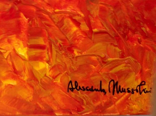 """Particolare di """"Città in fiamme"""" con firma di Alessandra Mussolini. Foto Safarik Art Magazine"""