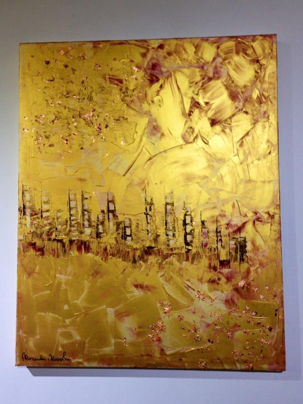 """""""Paesaggio urbano dorato"""" di Alessandra Mussolini. Foto Safarik Art Magazine"""