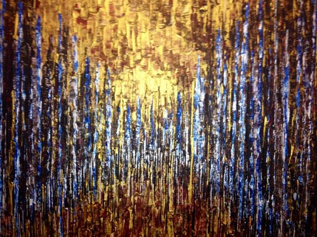 """Particolare di """"Prospettiva di foresta blu e oro"""" di Alessandra Mussolini. Foto Safarik Art Magazine"""