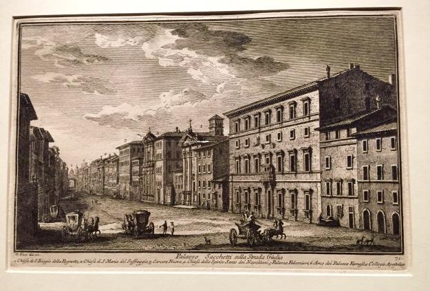 Giuseppe Vasi, Palazzo Sacchetti a Via Giulia (con la Chiesa di San Biagio alla Pagnotta), 1786, acquaforte. Foto Safarik Art Magazine