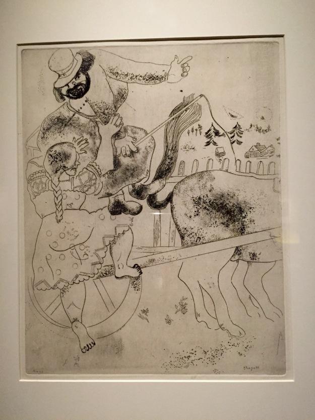 Mostra Chagall, Love and Life, a Roma al Chiostro del Bramante. Chiedere indicazioni, acquaforte, 1946. Foto Safarik Art Magazine