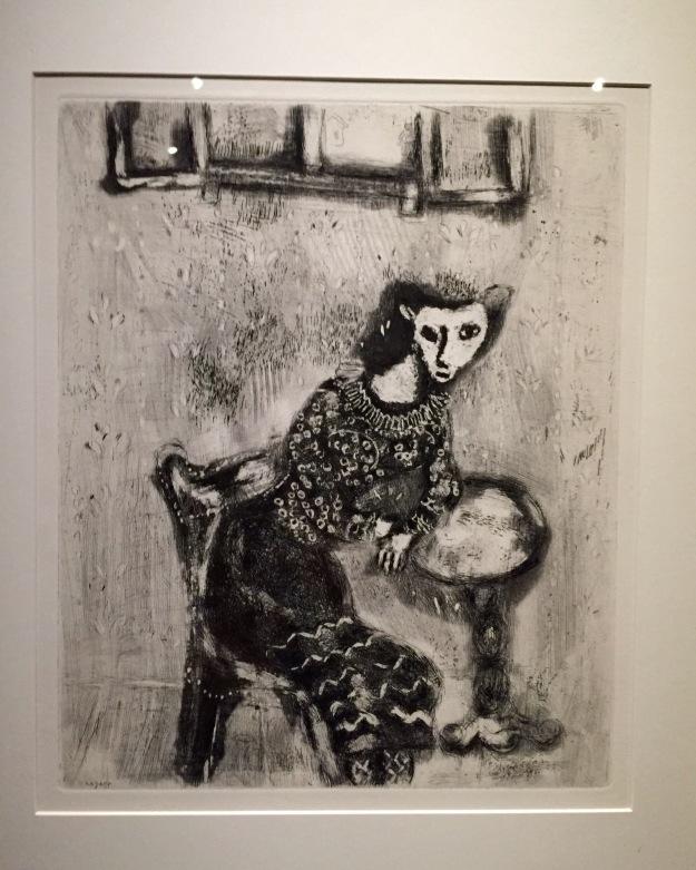 Mostra Chagall, Love and Life, a Roma al Chiostro del Bramante. La gatta trasformata in donna, illustrazione Favole di La Fontaine. Foto Safarik Art Magazine