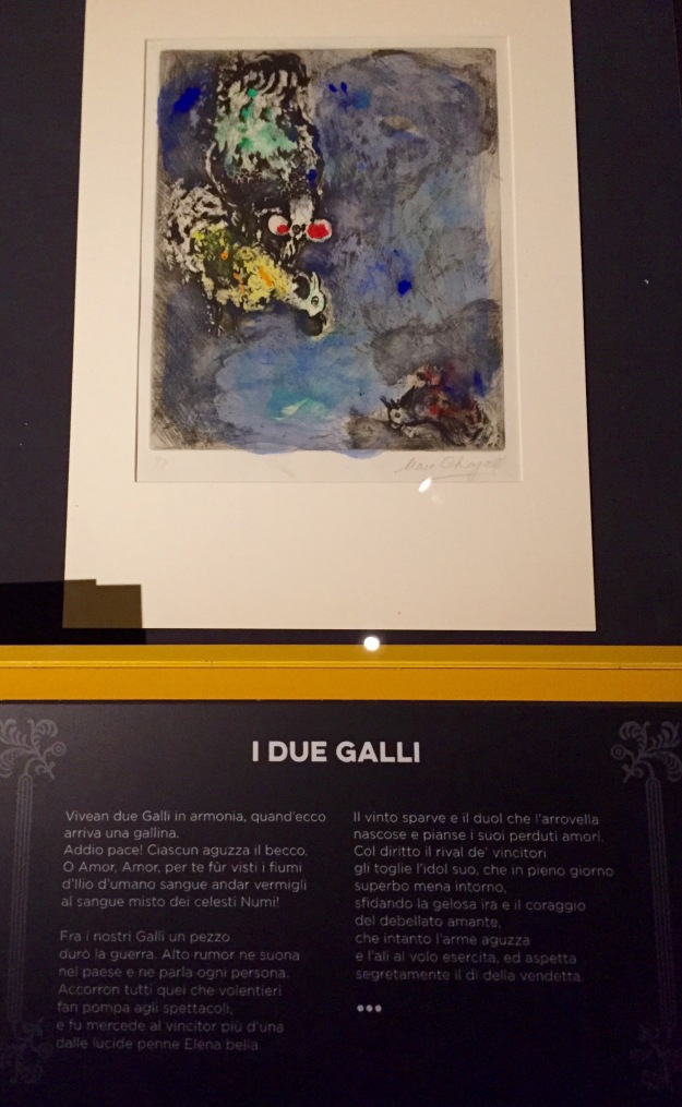Mostra Chagall, Love and Life, a Roma al Chiostro del Bramante. I due galli, illustrazione Favole di La Fontaine. Foto Safarik Art Magazine