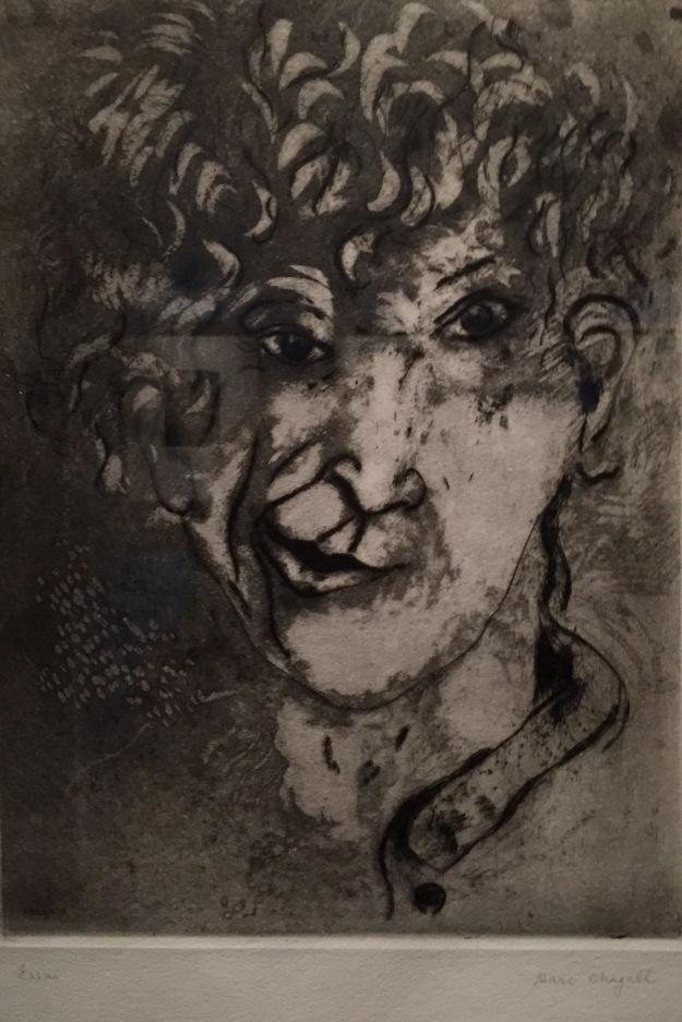 Marc Chagall, Autoritratto con sorriso, acquaforte e puntasecca, 1925. Foto Safarik Art Magazine