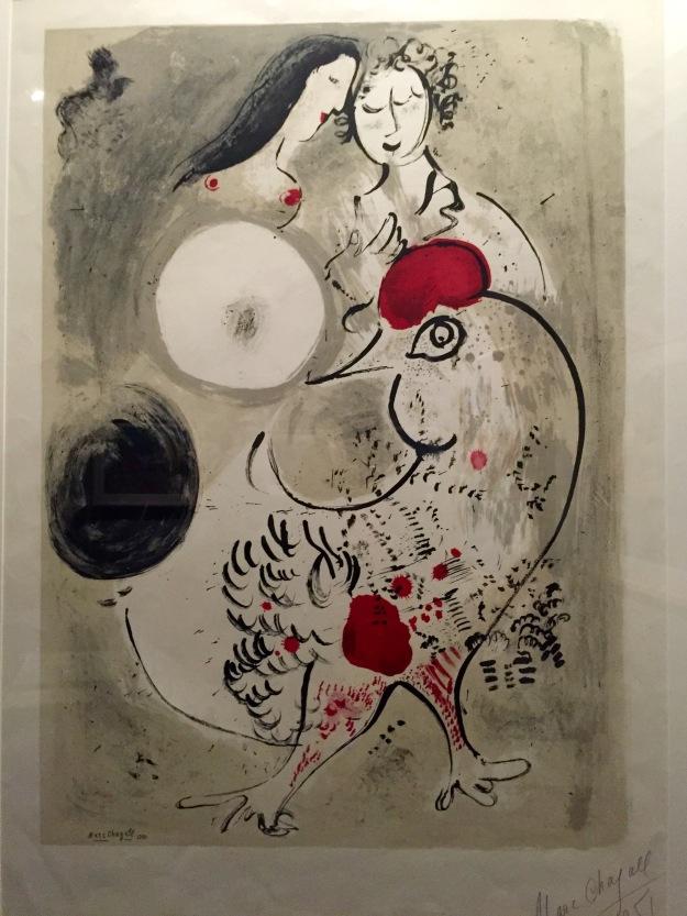 Marc Chagall, Coppia di amanti e fiori, 1949, litografia a colori. Foto Safatik Art Magazine