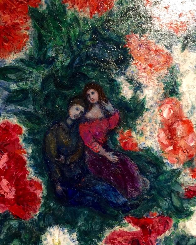 Marc Chagall, Gli innamorati, olio su tela, particolare. Foto Safarik Art Magazine