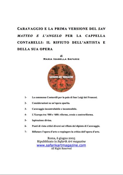 Anteprima Caravaggio e la prima versione del San matteo e l'Angelo