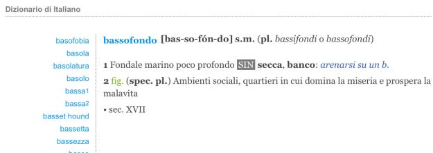 Bassofondo Dizionario del Corriere