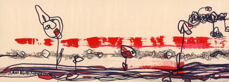 Rachele Palladino, Striscia eclettica Tecnica mista su carta Stampa su tela, mm 425 x 500 Roma, collezione privata