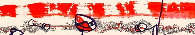 Striscia eclettica (particolare). XXI secolo – Maquillage. Tecnica mista su carta. Stampa su tela, cm 25 x 50. Roma, collezione privata