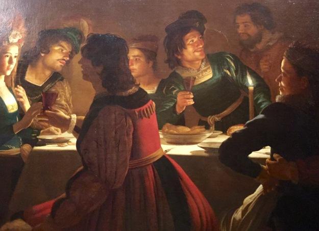 Gerrit van Honthorst, Cena con sponsali, Firenze, Uffizi, olio su tela, cm. 138x203. Mostra Gherardo delle Notti agli Uffizi di Firenze, 1613 circa. Foto Safarik Art Magazine