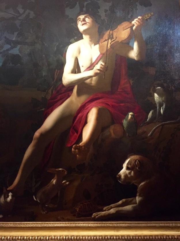 Gerrit van Honthorst. Orfeo, 1615-16. Olio su tela, cm. 179x165, Napoli, Palazzo Reale. Mostra Gherardo delle Notti agli Uffizi di Firenze. Foto Safarik Art Magazine