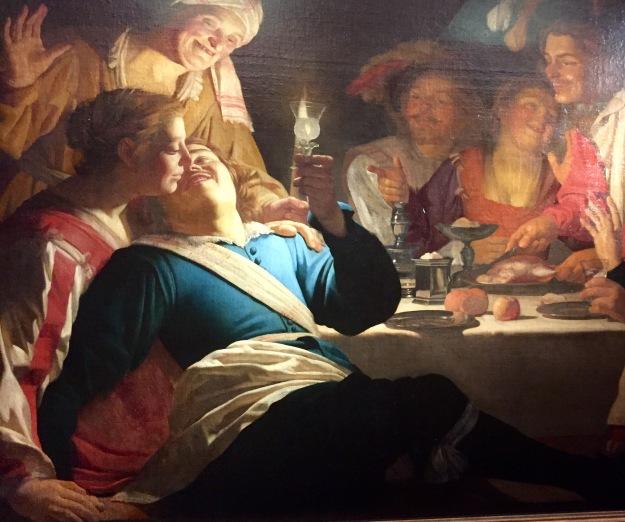 Gerrit van Honthorst, Compagnia allegra (Il figliol prodigo), olio su tela, cm. 130x196, Monaco di Baviera, Alte Pinakothek, 1622. Mostra Gherardo delle Notti agli Uffizi di Firenze. Foto Safarik Art Magazine