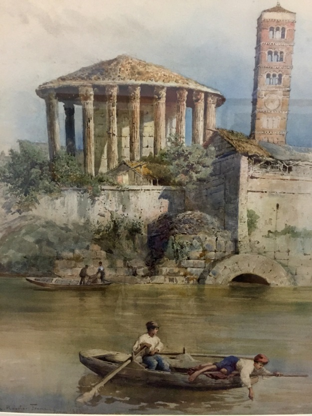 Ettore Roesler Franz, Il Tempio di Ercole e la Cloaca Massima dal Tevere, 1883, acquarello su carta (The Temple of Hercules and the Cloaca massima from the Tiber). Foto Safarik Art Magazine