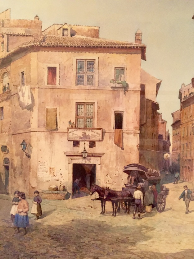 Ettore Roesler Franz, L'antico Albergo e Locanda dell'Orso (1500), 1878, acquarello su carta (watercolour on paper, The antique Hotel and Inn dell'Orso. Foto Safarik Art Magazine