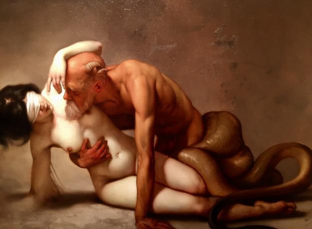 "Roberto Ferri (Taranto, Italia, n. 1978), ""Lacrime d'avorio"" (2015), olio su tela, cm. 49x70, Barcellona, MEAM, Museo Europeo d'Arte Moderna. Foto SAM"