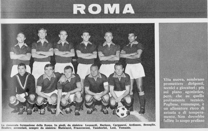 La rosa della Roma Calcio 1965 in Almanacco Giallorosso. Foto web.