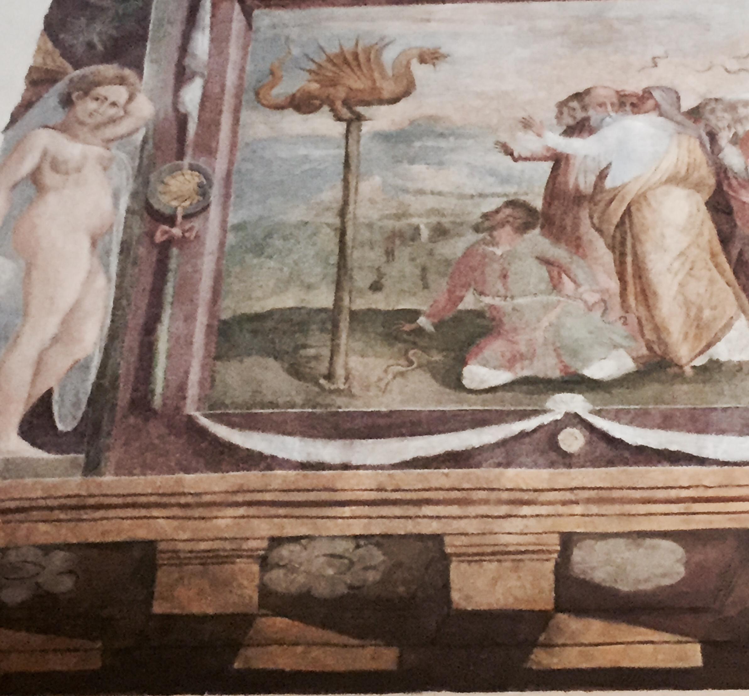Affreschi dell'ingresso di Palazzo Del Drago, Roma, Via dei Coronari, con suo ritratto. Foto Safarik Art Magazine