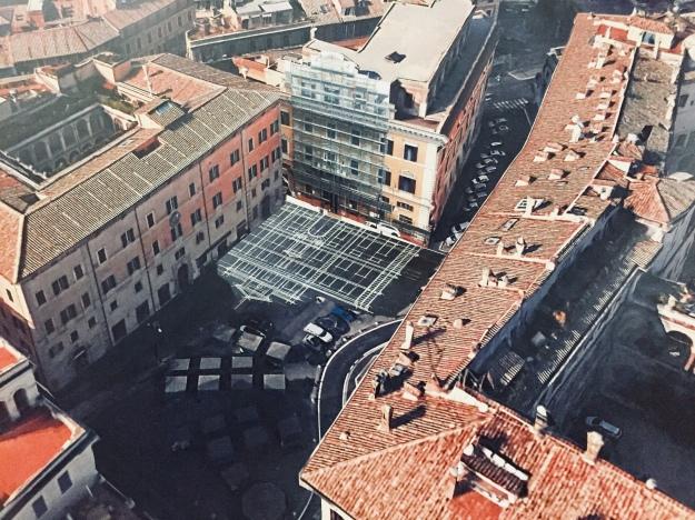 Foto aerea della sede della Facoltà di Architettura de La Sapienza di Roma in Piazza Borghese. Foto Ansa