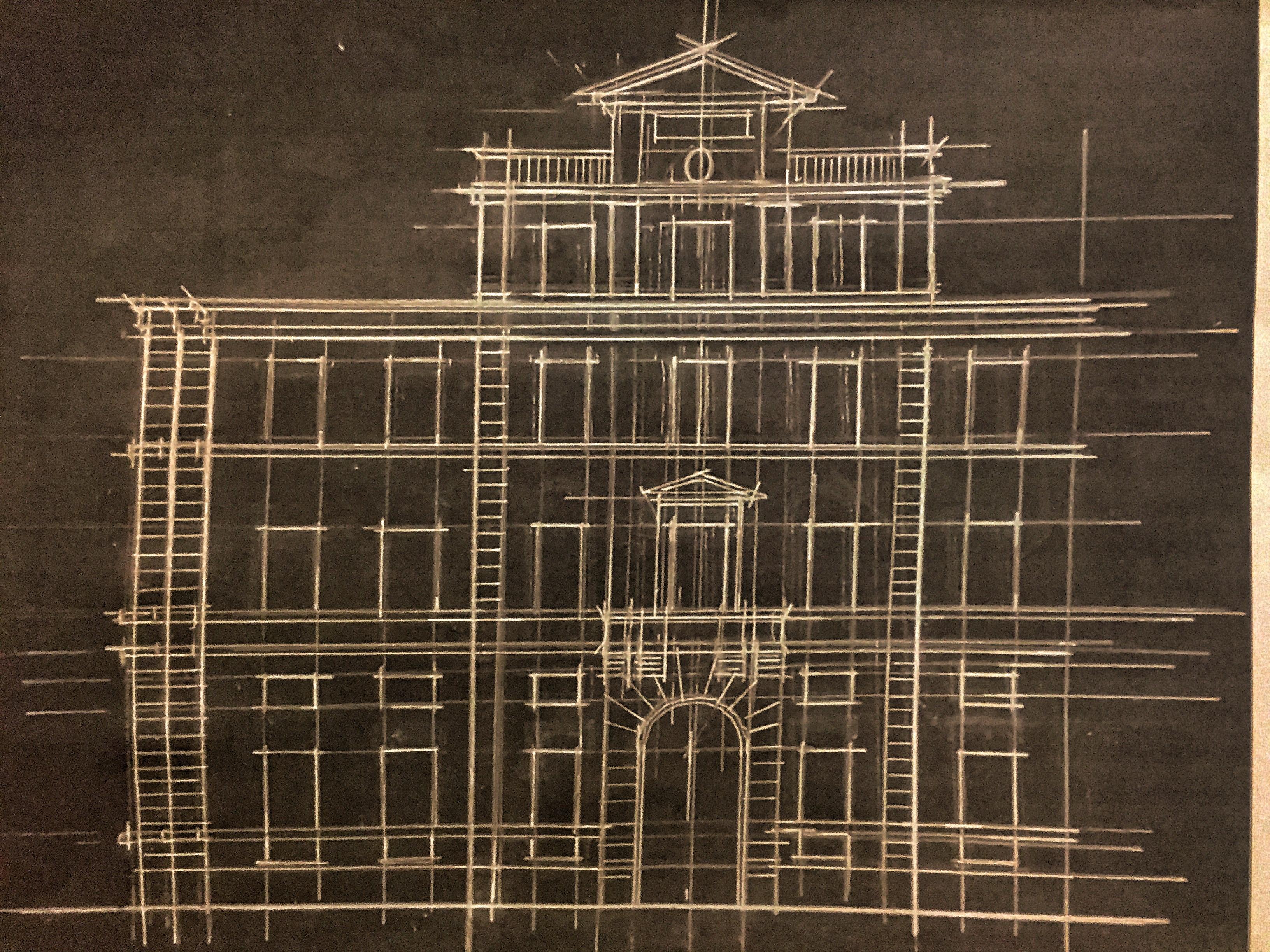 Disegno architettonico su carta della sede della Facoltà di Architettura de La Sapienza di Roma in Piazza Borghese 9. Foto Safarik Art Magazine