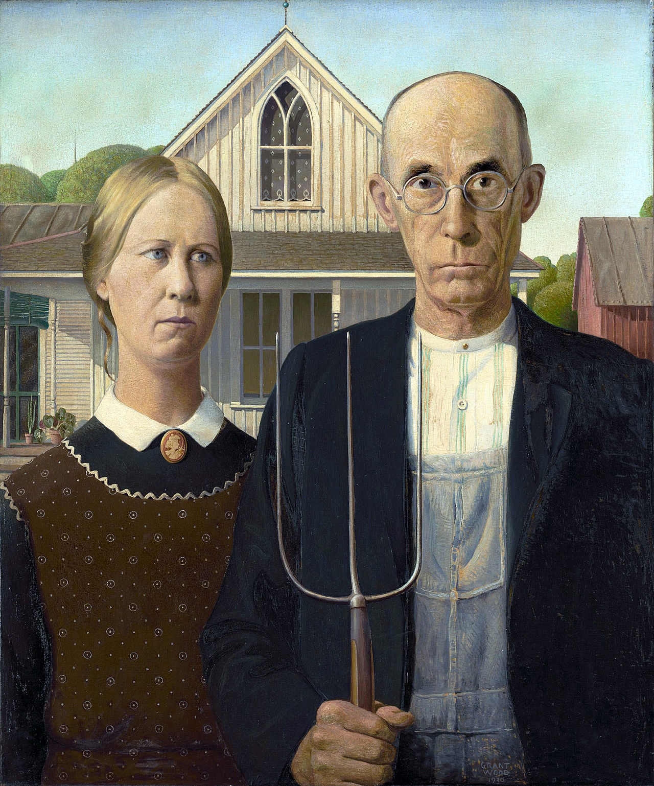 13. American Gothic - Grant Wood (1930) - Art Institute, Chicago