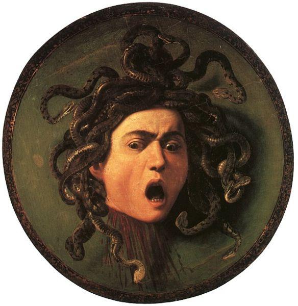 19. Scudo con testa di Medusa – Caravaggio (c. 1598) – Uffizi, Firenze