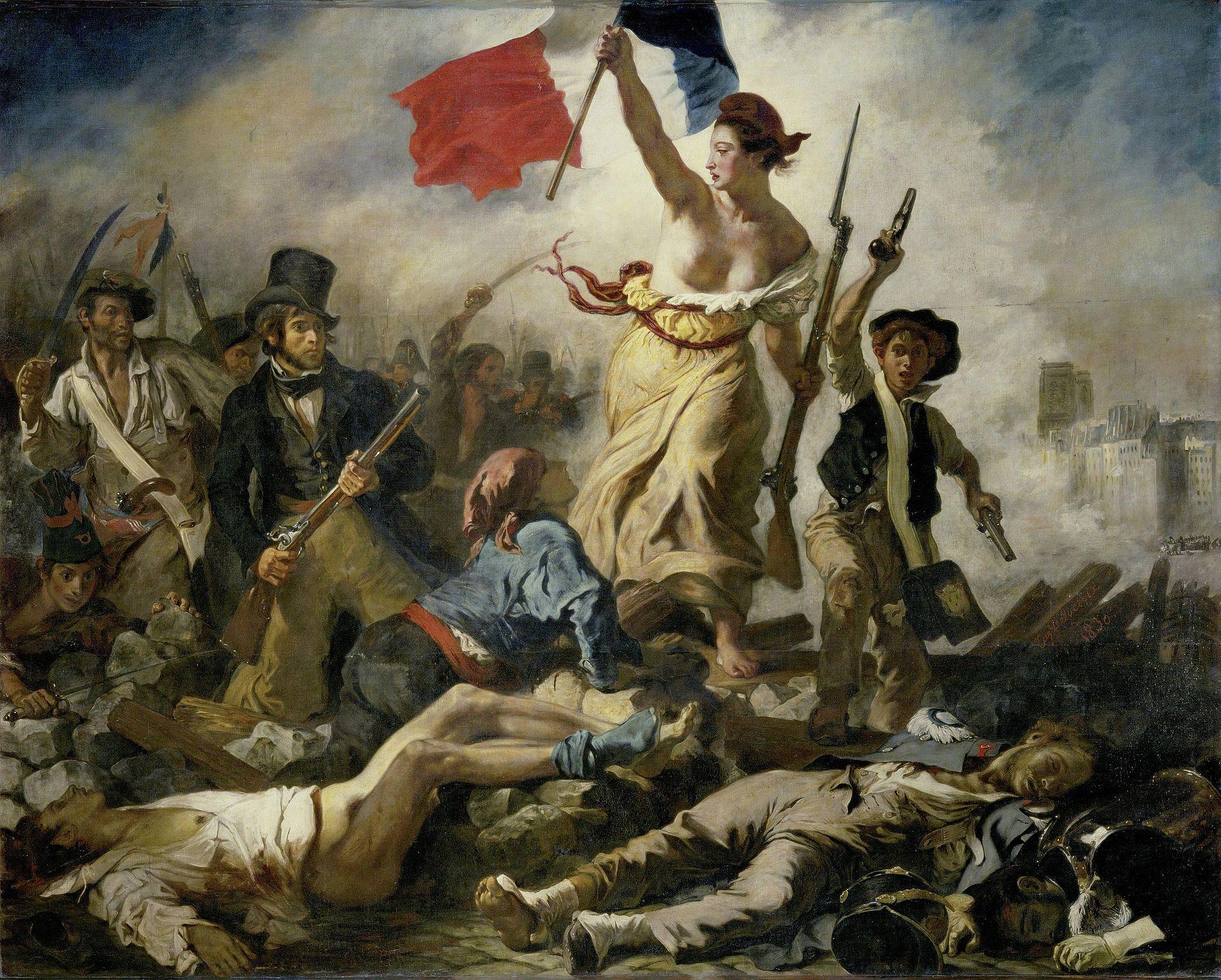 35. La Libertà che guida il popolo - Eugène Delacroix (1830) – Louvre, Parigi